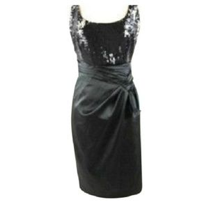 David Meister Black Sequin Cocktail Dress Sz 10